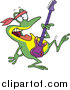Cartoon Vector Clipart of a Dancing Guitarist Frog by Toonaday