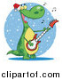 Cartoon Vector Clipart of a Dinosaur Singing Christmas Songs and Playing a Guitar by Hit Toon