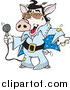 Cartoon Vector Clipart of a Elvis Pig Dancing and Shaking by Dennis Holmes Designs