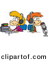 Cartoon Vector Clipart of a Happy Boy and Girl Wearing Headphones in a Studio by Toonaday