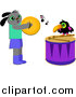 Cartoon Vector Clipart of a Happy Dog and Toucan Playing Cymbols and Drums by Bpearth