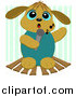 Cartoon Vector Clipart of a Karaoke Dog Singing Against Green Stripes by Bpearth