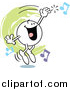 Cartoon Vector Clipart of a Moodie Character Singing and Hitting a High Note by Johnny Sajem