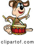 Cartoon Vector Clipart of a Music Dog Drumming by Dero