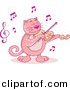 Cartoon Vector Clipart of a Pink Cartoon Cat Playing Violin by Any Vector