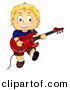 Cartoon Vector Clipart of a Smiling Boy Playing Electric Guitar by BNP Design Studio