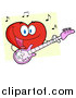 Cartoon Vector Clipart of a Smiling Love Heart Cartoon Character Playing Guitar by Hit Toon