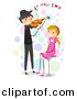 Cartoon Vector Clipart of a Stick Figure Boy Playing Violin Love Music to a Happy Girl Sitting on a Stool by BNP Design Studio