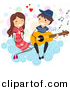 Cartoon Vector Clipart of a Stick Figure Boy Serenading a Girl on a Cloud with Guitar by BNP Design Studio