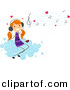 Cartoon Vector Clipart of a Valentine Stick Figure Girl Listening to Love Songs While Sitting on a Cloud by BNP Design Studio