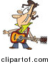 Cartoon Vector Clipart of a Winking Male Guitarist by Toonaday