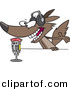 Cartoon Vector Clipart of an Excited Radio Wolf Talking into a Microphone by Ron Leishman