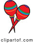 Cartoon Vector Clipart of Mexican Maracas by Pams Clipart