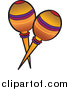 Cartoon Vector Clipart of Orange Mexican Maracas by Pams Clipart