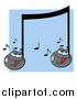 Cartoon Vector Clipart of Singing Music Notes over Blue by Hit Toon