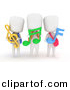 Clipart of 3d White Kids Holding Music Notes and Wearing Backpacks by BNP Design Studio