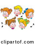Clipart of 5 Cartoon Boys and Girls in Choir, Singing by Alex Bannykh