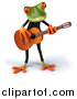 Clipart of a 3d Frog Playing Guitar by Julos