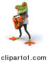 Clipart of a 3d Green Doctor Frog Guitarist by Julos