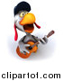 Clipart of a 3d White Police Chicken Playing a Guitar and Singing by Julos