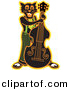 Clipart of a Black Cartoon Cat Playing a Bass Fiddle Instrument by Andy Nortnik