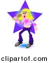 Clipart of a Blond Pop Star Woman Singing by Prawny