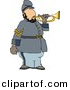 Clipart of a Cartoon American Civil War Soldier Playing Bugle Horn by Dennis Cox