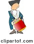 Clipart of a Cartoon American Revolutionary War Drummer Man by Dennis Cox
