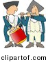 Clipart of a Cartoon American Revolutionary War Drummer Playing Beside a Flute Player by Dennis Cox
