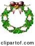 Clipart of a Cartoon Angels Decorated on Christmas Wreath by Djart
