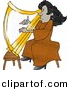 Clipart of a Cartoon Black Harpist Playing Golden Harp by Djart