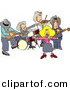 Clipart of a Cartoon Country Western Band Playing Music by Dennis Cox
