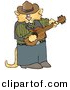 Clipart of a Cartoon Cowboy Cat Playing Acoustic Guitar by Djart