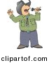 Clipart of a Cartoon Cowboy Singing Country Music with Microphone by Dennis Cox