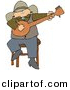 Clipart of a Cartoon Cowboy Sitting on Stool and Playing a Banjo by Dennis Cox