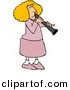 Clipart of a Cartoon Female Clarinet Player Playing by Djart