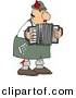 Clipart of a Cartoon German Accordion Player Playing Music by Dennis Cox