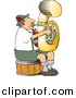 Clipart of a Cartoon German Man Playing Tuba While Sitting on Wood Seat by Dennis Cox
