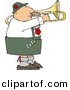 Clipart of a Cartoon German Trombone Player by Dennis Cox