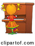 Clipart of a Cartoon Girl Playing Piano by Alex Bannykh