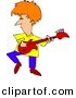 Clipart of a Cartoon Guitarist Wearing Bright Neon Clothes and Hair by Djart
