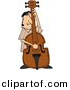 Clipart of a Cartoon Guy Playing His Bass by Djart