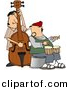 Clipart of a Cartoon Jazz Couple Playing Bass and Bongos by Dennis Cox