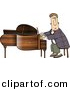 Clipart of a Cartoon Man Playing Grand Piano by Djart