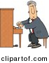 Clipart of a Cartoon Man Playing Piano by Dennis Cox