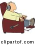 Clipart of a Cartoon Man Sitting in a Recliner and Listening to Music Through Earphones by Dennis Cox