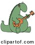 Clipart of a Cartoon Musical Dinosaur Singing While Playing Guitar by Dennis Cox