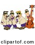 Clipart of a Cartoon Musicians Playing Blues Music by Dennis Cox
