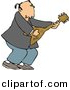 Clipart of a Cartoon Old Rocker Man Playing Guitar by Dennis Cox