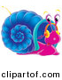 Clipart of a Cartoon Purple Snail with a Blue Shell Listening to Music on Headphones by Alex Bannykh